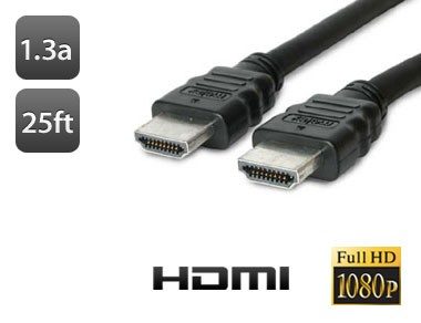 25FT HDMI to HDMI High Definition Cable Version 1.3a (3D TV Ready)