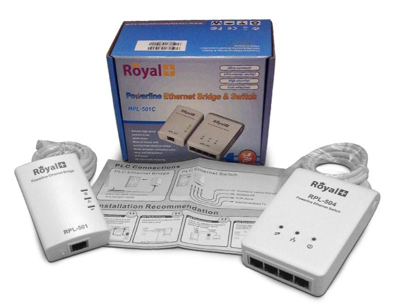 RoyalPlus HomePlug Powerline Network Ethernet Bridge RPL-501C-500Mbps (Pair)