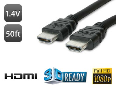 50FT HDMI to HDMI High Definition Cable Version 1.4V (3D TV Ready)